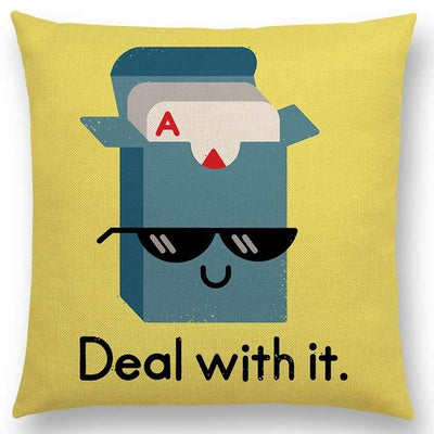 deal with it funny pillow