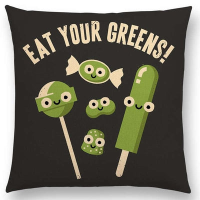 funny pillow eat your greens