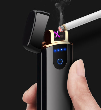 premium good quality usb lighter - rechargeable windproof lighter gift with personalization - winfinity brands   black color smoking lighter best