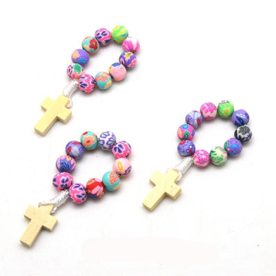 handmade colorful timber and clay rosaries, decade rosaries winfinity brands
