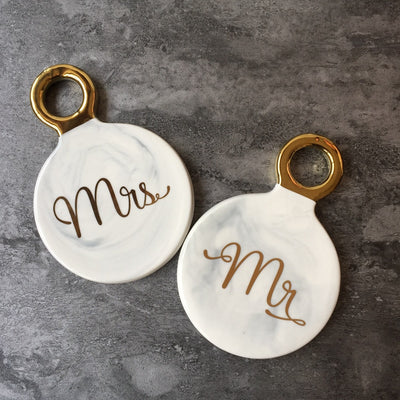 mr and mrs wedding marble coasters - winfinity brands