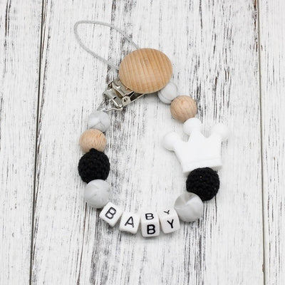 handmade, custom name, baby pacifier teether clip, white color - winfinity brands