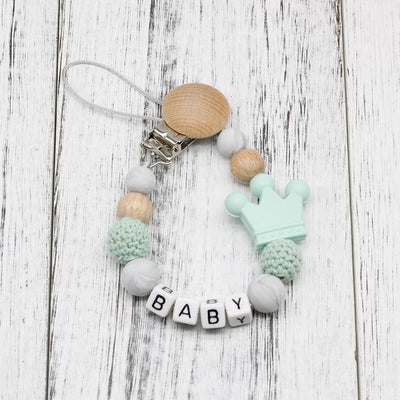 handmade, custom name, baby pacifier teether clip, mint green - winfinity brands