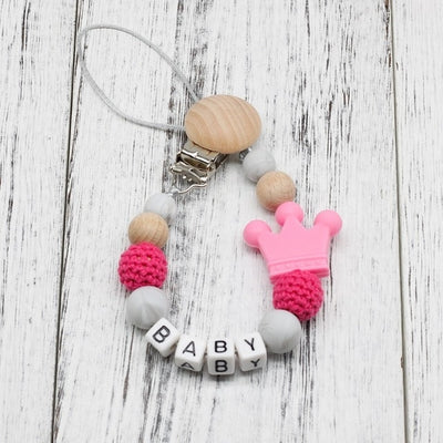 handmade, custom name, baby pacifier teether clip, pink color - winfinity brands