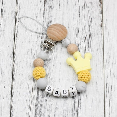 handmade, custom name, baby pacifier teether clip, yellow color - winfinity brands