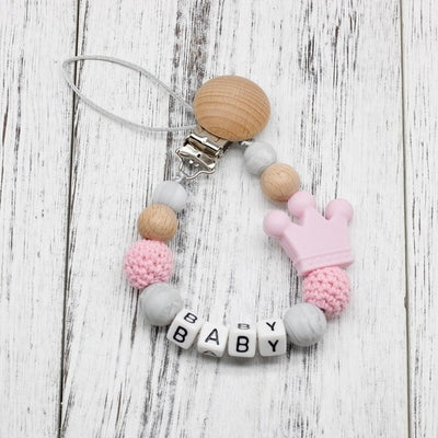 handmade, custom name, baby pacifier teether clip, light purple color - winfinity brands