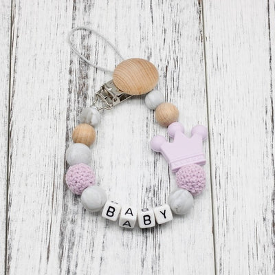 handmade, custom name, baby pacifier teether clip, purple color - winfinity brands