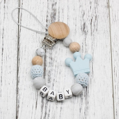 handmade, custom name, baby pacifier teether clip, light blue color - winfinity brands