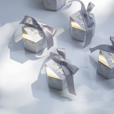 CREATEME™ Marble Style Thank You Favor Gift Boxes