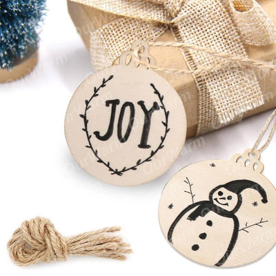 CREATEME™ 50 x Hanging Craft Wood DIY Christmas Tree Ornaments