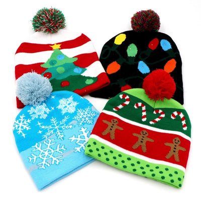 funny christmas light up hat beanie. christmas tree beanie, christms lights beanie, christmas candy cane and gingerbrea men, snowflake hat