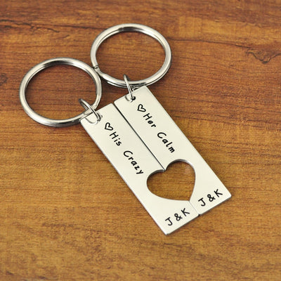 her calm his crazy, key chain set for couples