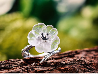 unique lotus flower ring, handmade lotus flower rings  antique silver