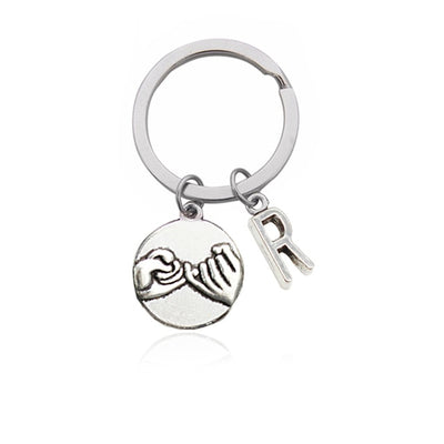 CREATEME™ Pinky Swear Promise Couples Initial Key Chain (Letters N to Z)