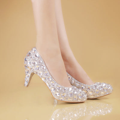 rhinestone crystal sawarski shoes peep toe
