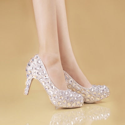 high heel rhinestone glamorous shoes