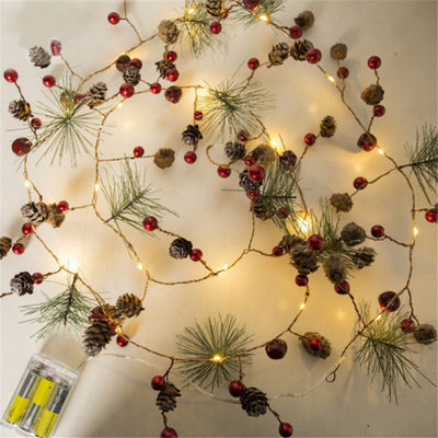 indoor copper chirstmas led lights, light up garland, handmade garland christmas decor
