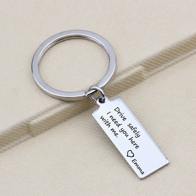 CREATEME™ Drive Safely Personalized Name Keychain