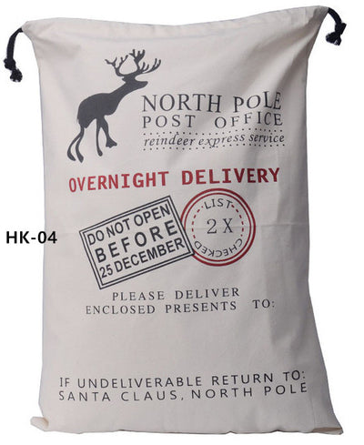 christmas sack, santa delivery sack, north pole office overight delivery