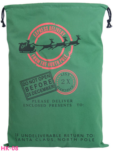 christmas sack, santa delivery sack,express delivery from the north pole green bag