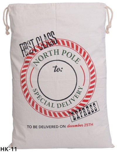 christmas sack, santa delivery sack, firts class north pole
