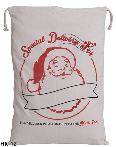christmas sack, santa delivery sack, special delivery for, if undelivered return to the north pole