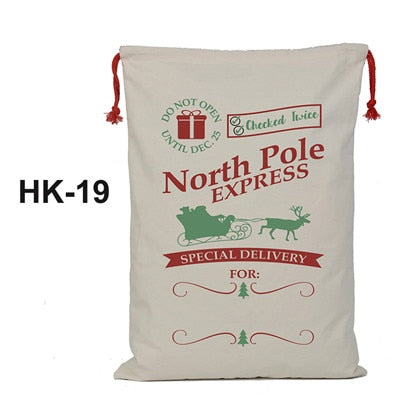 christmas sack, santa delivery sack, north pole expess