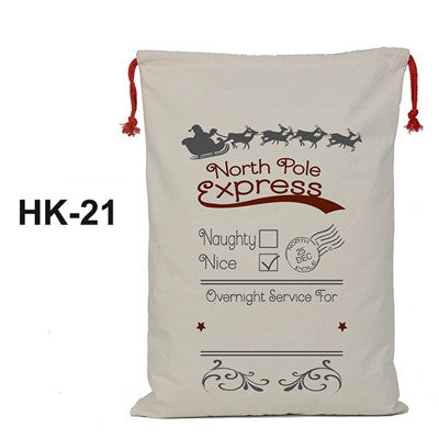 christmas sack, santa delivery sack, north pole express