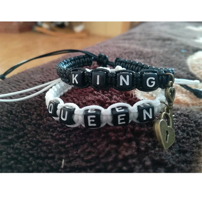 King and queen couples bracelet, white queen and black king