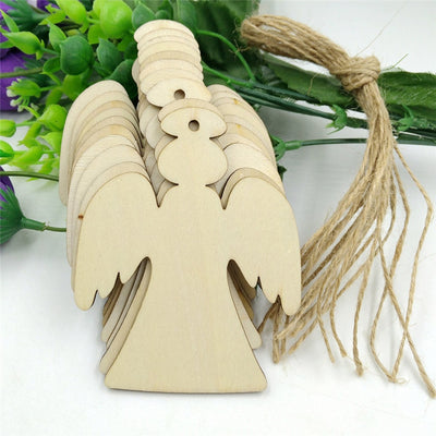 craft wood timber angels rustic with burlap string