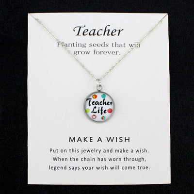 Special Teacher Gift - Necklace with Card