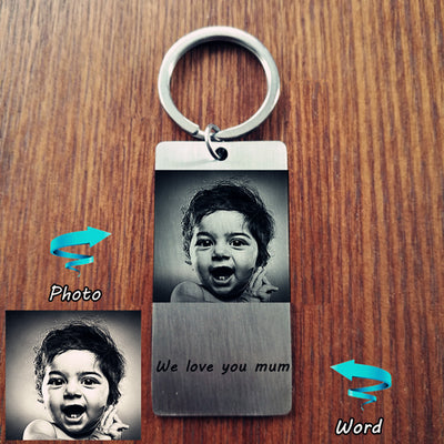 custom photo and words text dog tag key chain gift for him - winfinity brands