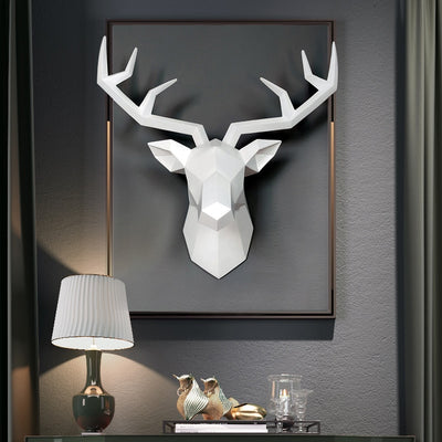 white faux deer head, resin white deer head, wall art modern deer head