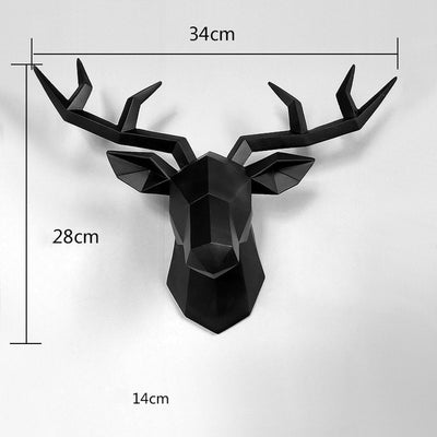 black deer head wall sculpture, black faux deer head, resin white deer head, wall art modern deer head