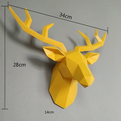 yellow deer head wall sculpture, white faux deer head, resin yellow deer head, wall art modern deer head