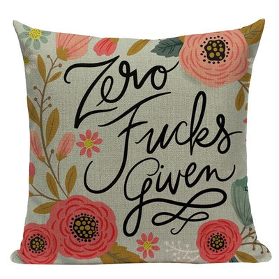 pillow case cushion cover- winfinity brands zero fucks given