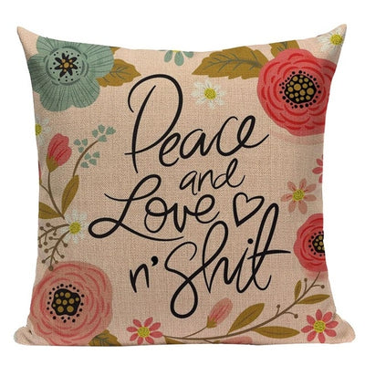 pillow case cushion cover- winfinity brands peace and love and shit