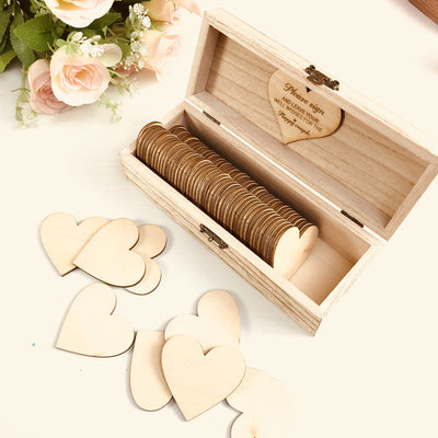 custom made wood wedding box with hearts