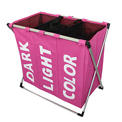 girl room pink color laundry triple compartment laundry hamper bin storage, dark light color