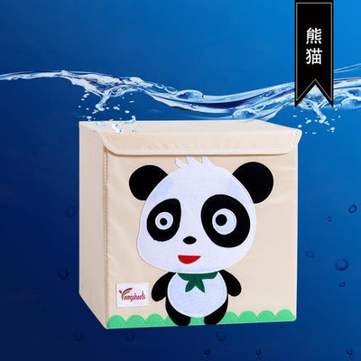 kids storage bin, childrens storage organization idea, kids room decor, storage bin animal theme, baby decor room, playroom decor for kids, storage box with lid, stackable kids canvas storage bins, panda theme