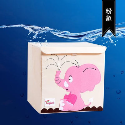 kids storage bin, childrens storage organization idea, kids room decor, storage bin animal theme, baby decor room, playroom decor for kids, storage box with lid, stackable kids canvas storage bins, pink elephant theme
