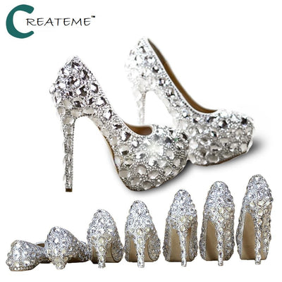 rhinestone bling wedding shoes, rhinestone high heels with different heel heights