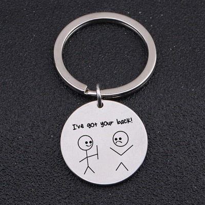 i've got your back key chain silver