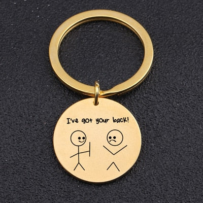 i've got your back key chain yellow gold
