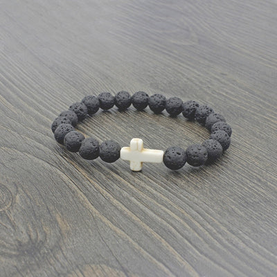 black lava stone stretchy bracelet with marble stone cross