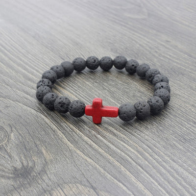 black lava stone stretchy bracelet with red stone cross