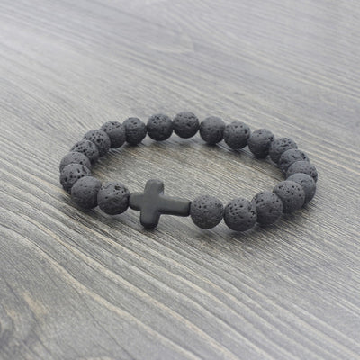 black lava stone stretchy bracelet with black stone cross