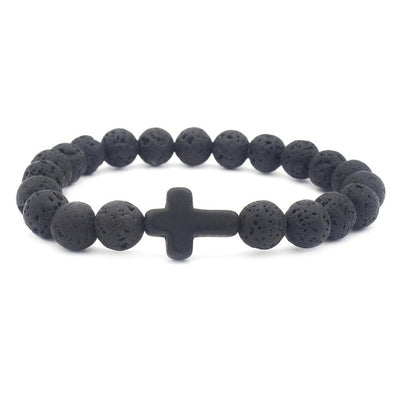 black lava stone bead bracelet one size fits all with black stone cross