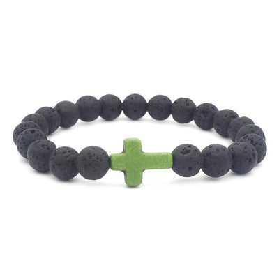 black lava stone stretchy bracelet with green stone cross