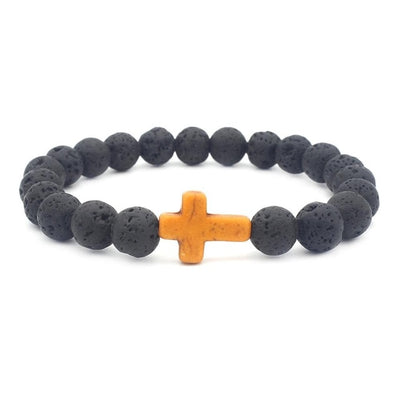 black lava stone stretchy bracelet with orange stone cross
